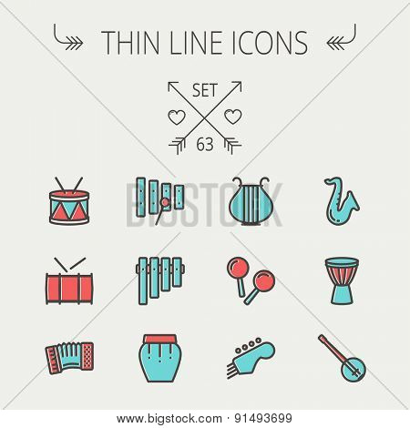 Music and entertainment thin line icon set for web and mobile. Set includes - xylophone, tuner, saxophone, banjo, maracas, organ, lyre icons. Modern minimalistic flat design. Vector icon with dark