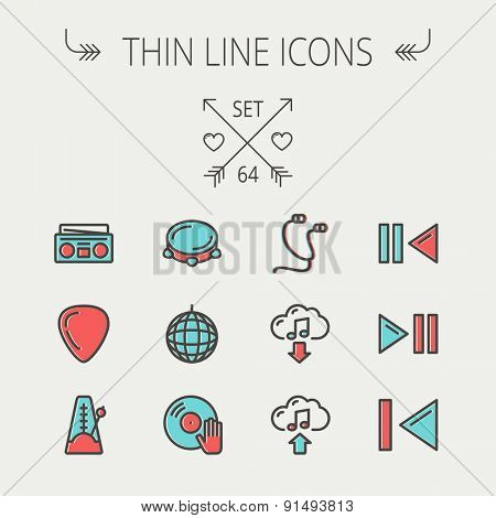Music and entertainment thin line icon set for web and mobile. Set includes -metronome, guitar pick, upload and download, earphone, disco ball, cassette player, music button icons. Modern minimalistic