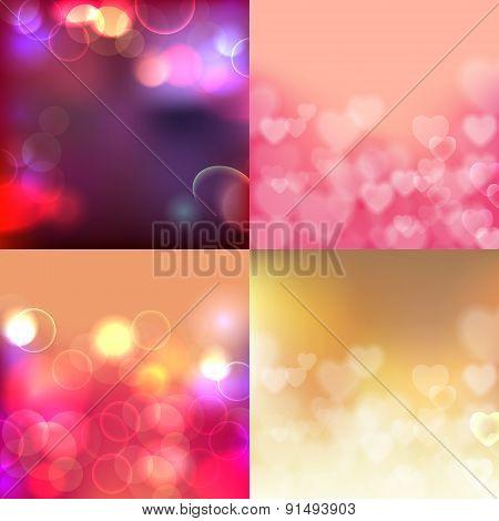 Shining bokeh effect  backgrounds set