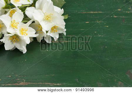 Jasmine white flower in old wooden table