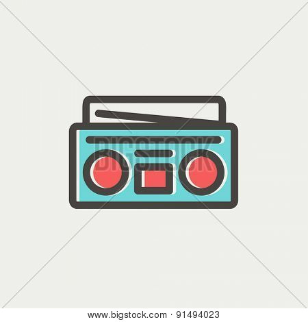Radio cassette player icon thin line for web and mobile, modern minimalistic flat design. Vector icon with dark grey outline and offset colour on light grey background.