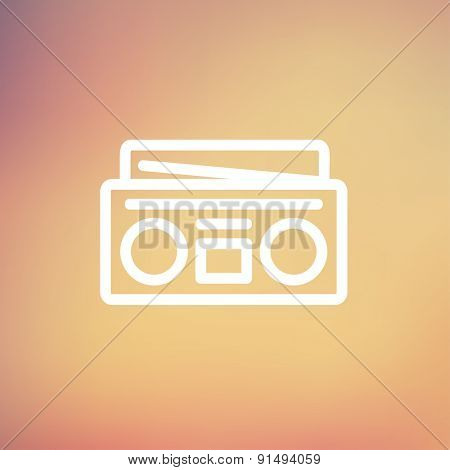 Radio cassette player icon thin line for web and mobile, modern minimalistic flat design. Vector white icon on gradient mesh background.