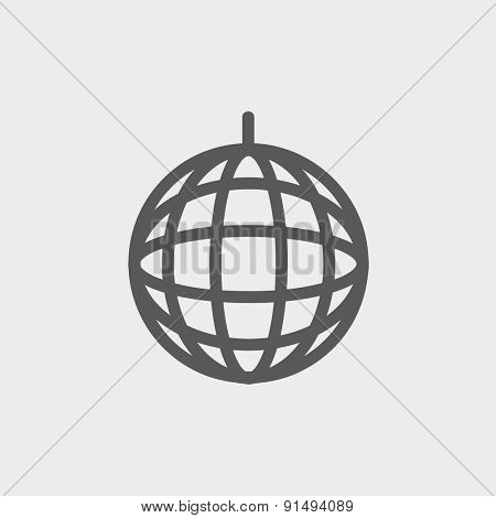 Disco ball icon thin line for web and mobile, modern minimalistic flat design. Vector dark grey icon on light grey background.