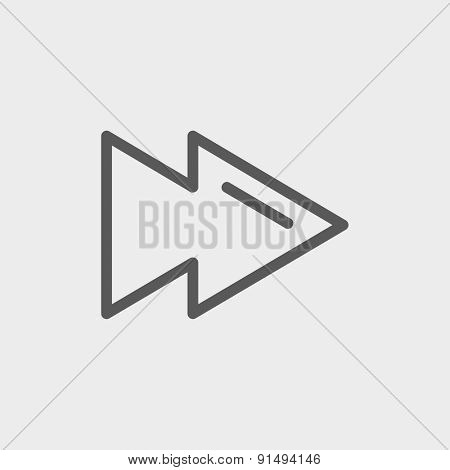 Fast forward or skip button icon thin line for web and mobile, modern minimalistic flat design. Vector dark grey icon on light grey background.