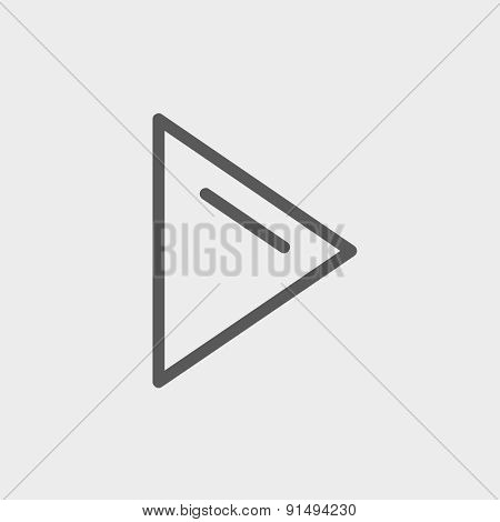 Play button icon thin line for web and mobile, modern minimalistic flat design. Vector dark grey icon on light grey background.