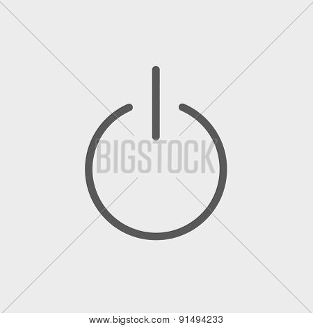 Power button icon thin line for web and mobile, modern minimalistic flat design. Vector dark grey icon on light grey background.