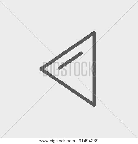 Playback button icon thin line for web and mobile, modern minimalistic flat design. Vector dark grey icon on light grey background.