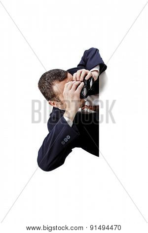 Brazilian business man seeking for something message isolated on white background