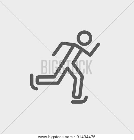 Running man icon thin line for web and mobile, modern minimalistic flat design. Vector dark grey icon on light grey background.