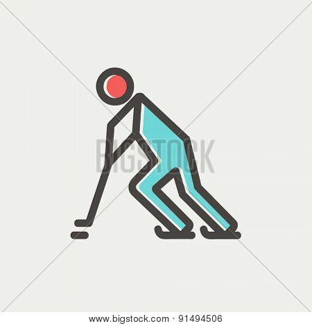 Hockey player pushing the puck icon thin line for web and mobile, modern minimalistic flat design. Vector icon with dark grey outline and offset colour on light grey background.