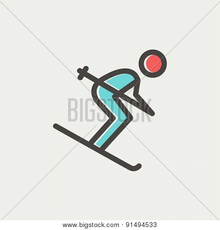 Downhill skiing icon thin line for web and mobile, modern minimalistic flat design. Vector icon with dark grey outline and offset colour on light grey background.