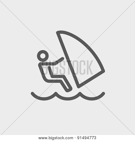 Wind surfing icon thin line for web and mobile, modern minimalistic flat design. Vector dark grey icon on light grey background.