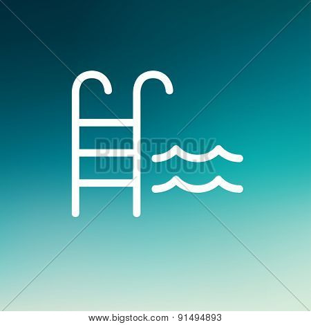 Swimming pool ladder icon thin line for web and mobile, modern minimalistic flat design. Vector white icon on gradient mesh background.