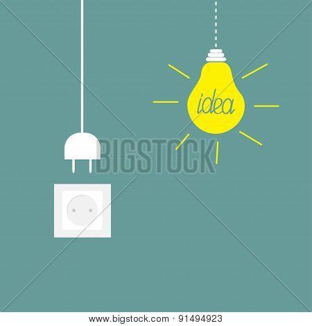 Hanging Yellow Light Bulb, Socket, Cord Plug. Idea Concept. Flat Design