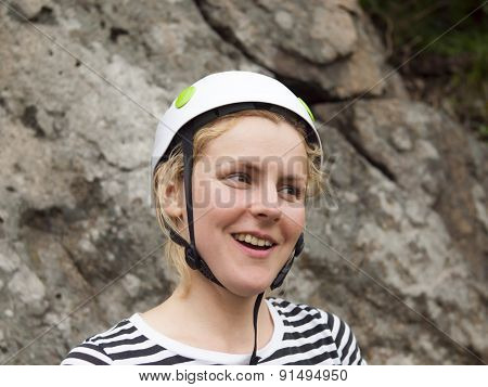 The Girl In The Helmet For Better Protection.