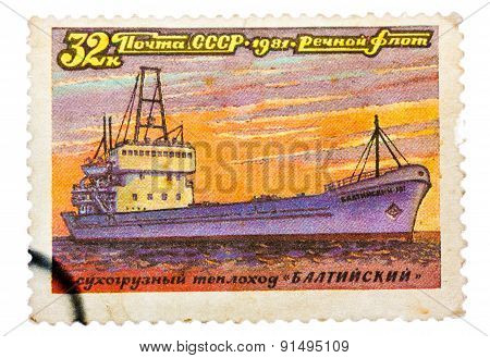 Stamp printed in USSR Russia shows a ship with the inscription