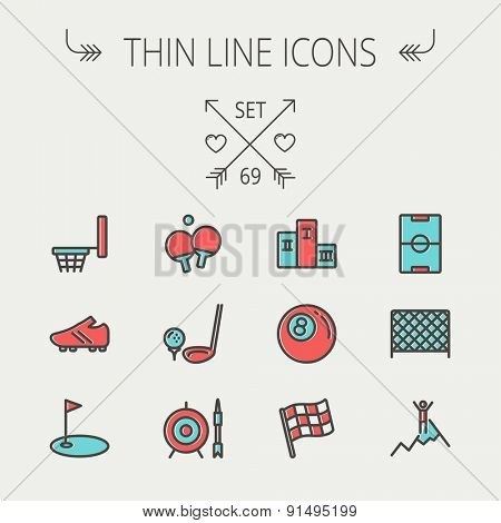 Sports thin line icon set for web and mobile. Set includes -soccer field, soccer shoes, golf flag, target and arrow, ping-pong, podium, skiing icons. Modern minimalistic flat design. Vector icon with