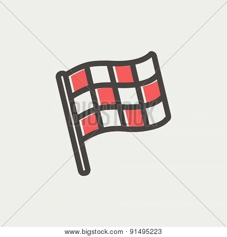 Checkered flag for racing icon thin line for web and mobile, modern minimalistic flat design. Vector icon with dark grey outline and offset colour on light grey background.