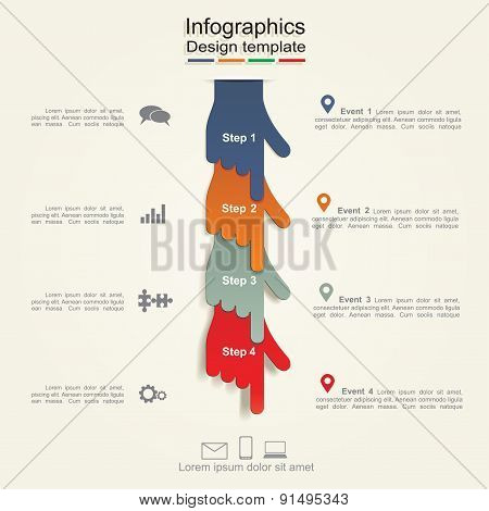 Infographic report template with hands. Vector