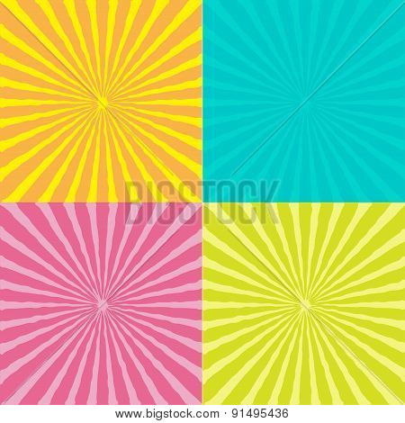 Sunburst Set With Wave Ray Of Light. Template. Four Abstract Background.