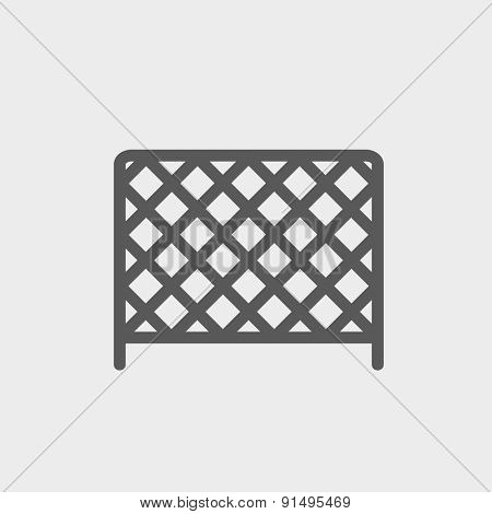 Ice hockey goal net icon thin line for web and mobile, modern minimalistic flat design. Vector dark grey icon on light grey background.