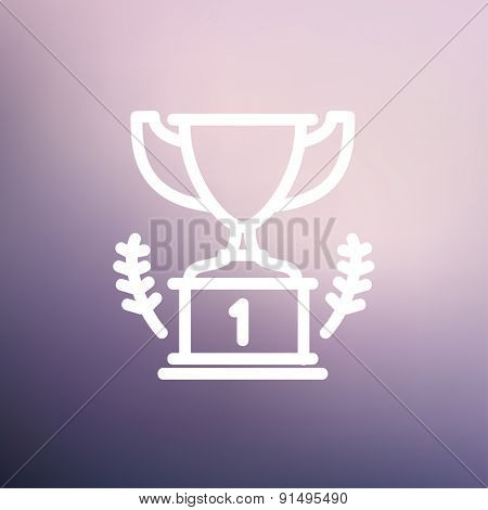 Trophy for first place winner icon thin line for web and mobile, modern minimalistic flat design. Vector white icon on gradient mesh background.