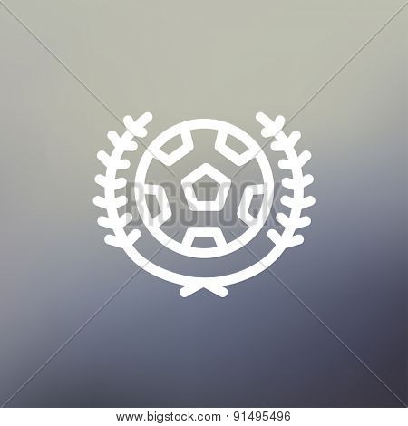 Sports soccer logo badges icon thin line for web and mobile, modern minimalistic flat design. Vector white icon on gradient mesh background.