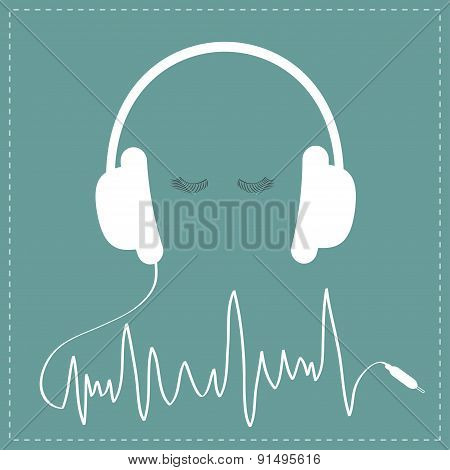 White Headphones With Cord In Shape Of Cardiogram Track Line. Eyelashes Love Music Card. Flat Design