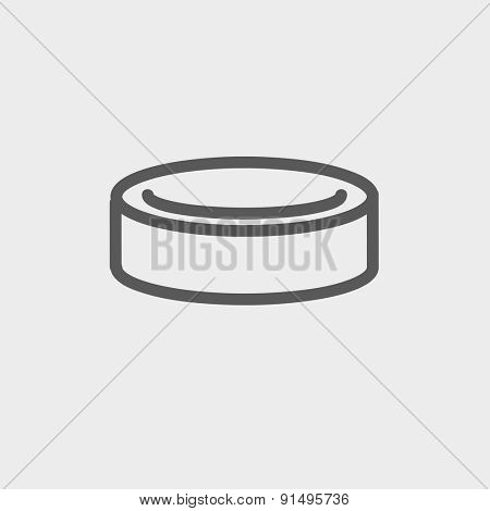 Hockey puck icon thin line for web and mobile, modern minimalistic flat design. Vector dark grey icon on light grey background.