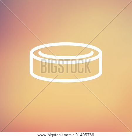 Hockey puck icon thin line for web and mobile, modern minimalistic flat design. Vector white icon on gradient mesh background.