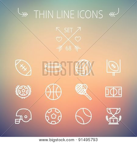 Sports thin line icon set for web and mobile. Set includes- volleyball, basketball, hockey puck, tennis, soccer, football, trophy, helmet icons. Modern minimalistic flat design. Vector white icon on