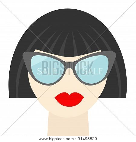 Fashion Brunet Woman Face With Sexy Red Lips, Sale Into Sunglasses, Long Neck Flat Design