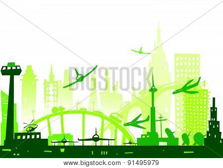 City background with airplanes going to land