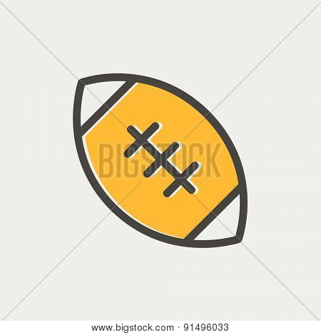 Football ball icon thin line for web and mobile, modern minimalistic flat design. Vector icon with dark grey outline and offset colour on light grey background.