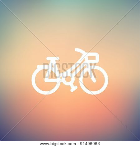 Vintage bicycle icon thin line for web and mobile, modern minimalistic flat design. Vector white icon on gradient mesh background.
