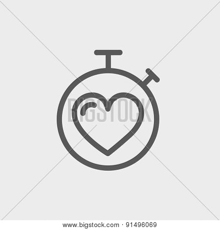 Heart time icon thin line for web and mobile, modern minimalistic flat design. Vector dark grey icon on light grey background.