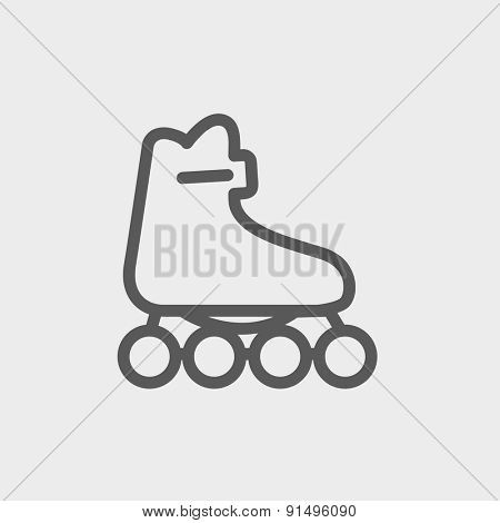 Roller skate icon thin line for web and mobile, modern minimalistic flat design. Vector dark grey icon on light grey background.
