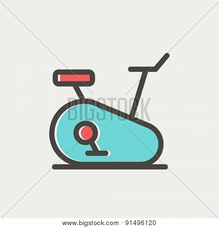 Fitness cycling icon thin line for web and mobile, modern minimalistic flat design. Vector icon with dark grey outline and offset colour on light grey background.