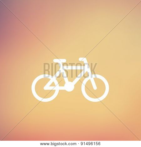 Bicycle icon thin line for web and mobile, modern minimalistic flat design. Vector white icon on gradient mesh background.
