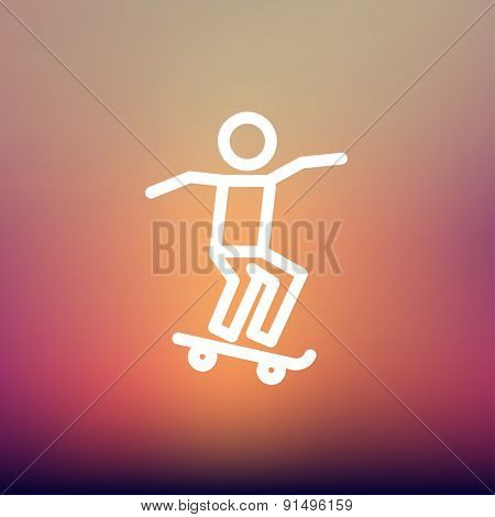 Man skateboarding icon thin line for web and mobile, modern minimalistic flat design. Vector white icon on gradient mesh background.