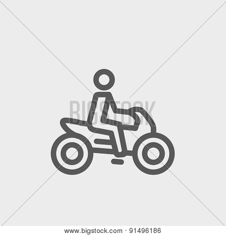 Motorbike icon thin line for web and mobile, modern minimalistic flat design. Vector dark grey icon on light grey background.
