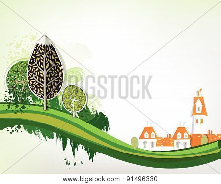 City background with green trees
