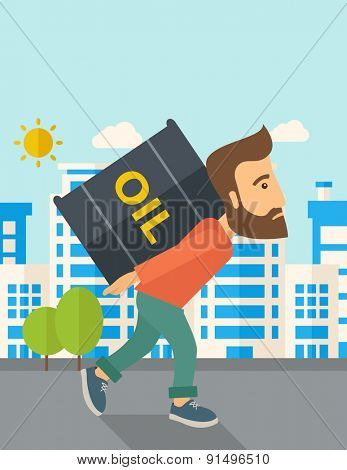 A businessman walking while carrying a heavy barrel of oil for delivery. A Contemporary style with pastel palette, soft blue tinted background with desaturated clouds. Vector flat design illustration