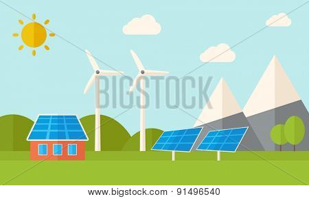 A house with alternative energy consumption, solar panel and wind mills. A Contemporary style with pastel palette, soft blue tinted background with desaturated clouds. Vector flat design illustration