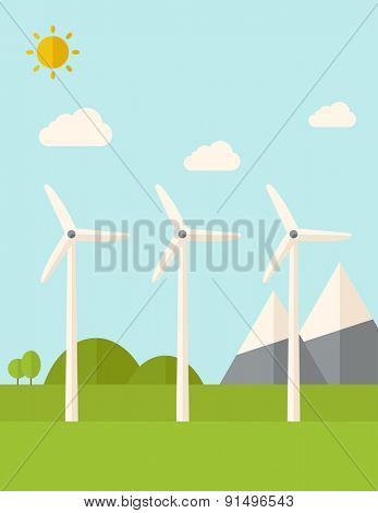 Three windmills standing under the heat of the sun. A Contemporary style with pastel palette, soft blue tinted background with desaturated clouds. Vector flat design illustration. Vertical layout.