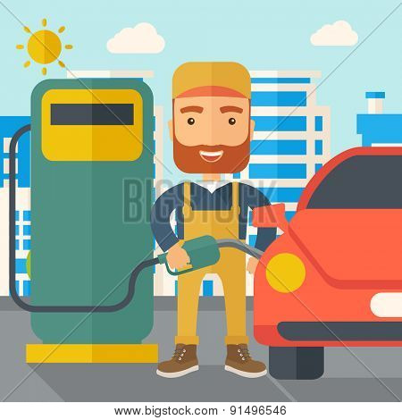 A happy hipster gasoline boy filling up fuel into the car. A Contemporary style with pastel palette, soft blue tinted background with desaturated clouds. Vector flat design illustration. Square layout
