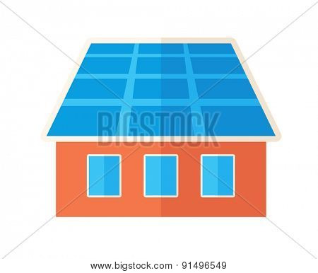 A house with solar panels on the roof. . A Contemporary style. Vector flat design illustration isolated white background. Square layout