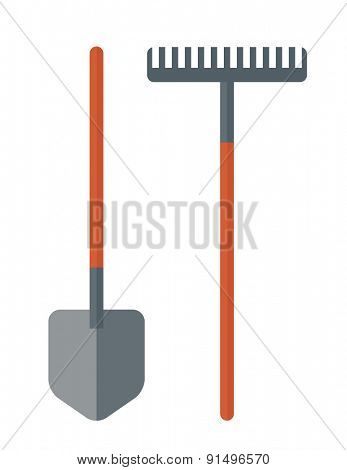 A shovel and rake are gardening tools. A Contemporary style. Vector flat design illustration isolated white background. Vertical layout.