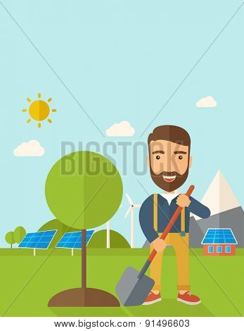 A happy gardener planting a tree using in his yard using shovel under the heat of the sun. A Contemporary style with pastel palette, soft blue tinted background with desaturated clouds. Vector flat