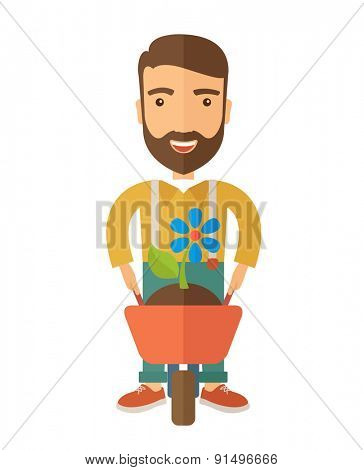 A man pushing a wheelbarrow carries a plant with flower. A Contemporary style. Vector flat design illustration isolated white background. Vertical layout.